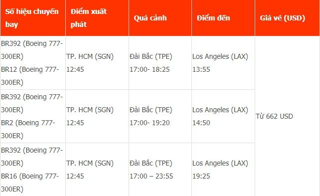 Vé máy bay đi Los Angeles (LAX) của Eva Air