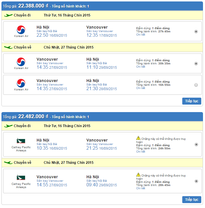 Vé máy bay đi Vancouver giá rẻ hãng Korean Air