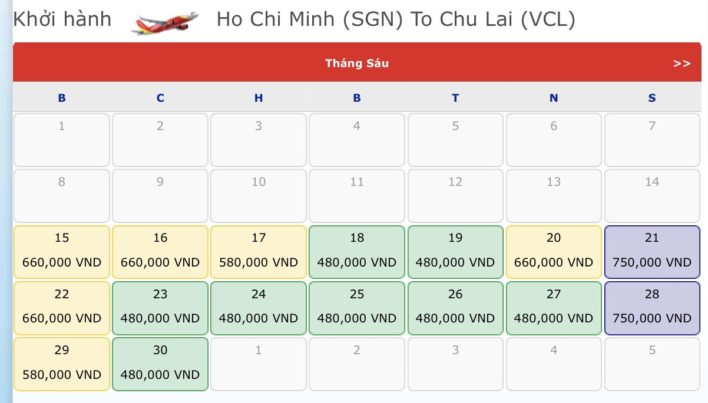 Vé máy bay đi Chu Lai - Vé máy bay khuyến mãi tháng 6