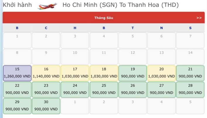 Vé máy bay đi Thanh Hóa - Vé máy bay khuyến mãi tháng 6